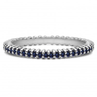 Sapphire Stackable 1.5mm Double Shared Prong Eternity Ring