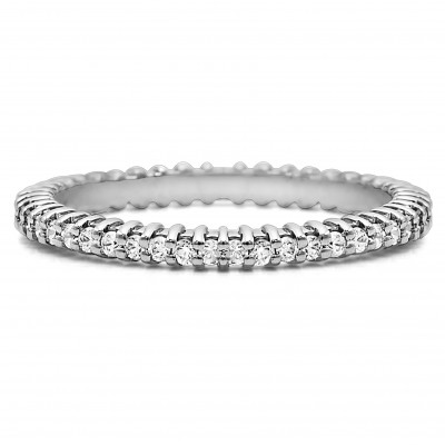 Stackable 1.5mm Double Shared Prong Eternity Ring
