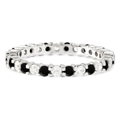 Black and White Stone Stackable 2.2mm Double Shared Prong Eternity Ring
