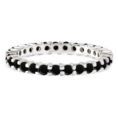 Black Stone Stackable 2.2mm Double Shared Prong Eternity Ring