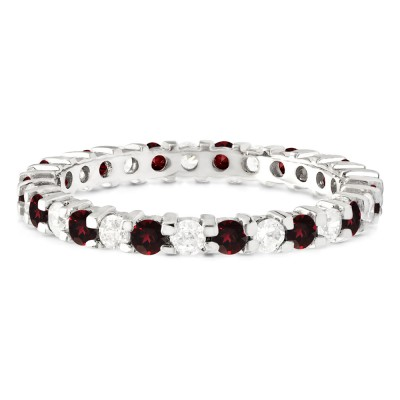 Ruby and Diamond Stackable 2.2mm Double Shared Prong Eternity Ring