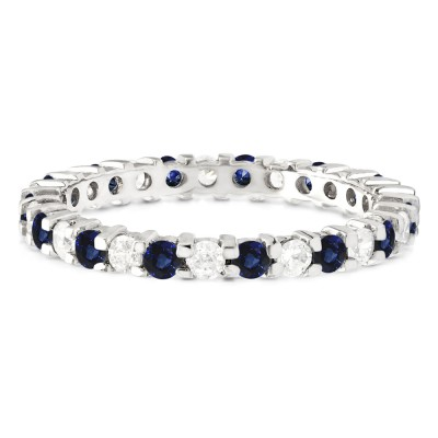 Diamond and Sapphire Stackable 2.2mm Double Shared Prong Eternity Ring