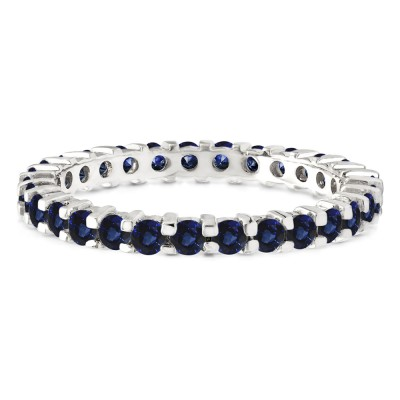 Sapphire Stackable 2.2mm Double Shared Prong Eternity Ring