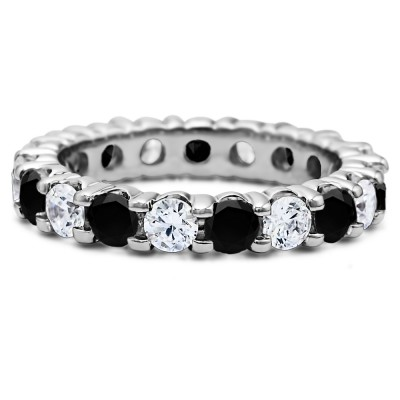 Black and White Stone Stackable 3.1mm Double Shared Prong Eternity Ring