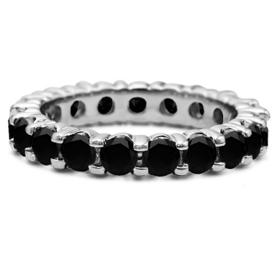 Black Stone Stackable 3.1mm Double Shared Prong Eternity Ring