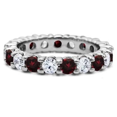Ruby and Diamond Stackable 3.1mm Double Shared Prong Eternity Ring