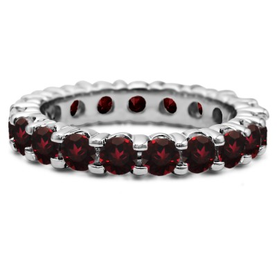 Ruby Stackable 3.1mm Double Shared Prong Eternity Ring