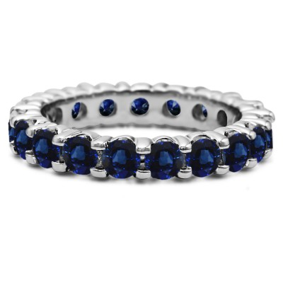 Sapphire Stackable 3.1mm Double Shared Prong Eternity Ring