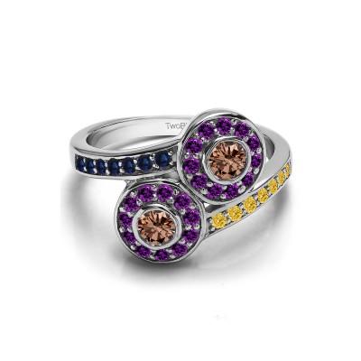 Genuine Birthstone Genuine Birthstone & Diamond Together 4Ever:  Bezel Set TwoStone Ring by TwoBirch (0.71 Carat)