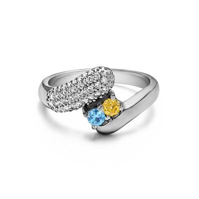 Genuine Birthstone Genuine Birthstone & Diamond Together 4Ever:  Retro TwoStone Ring by TwoBirch (0.51 Carat)