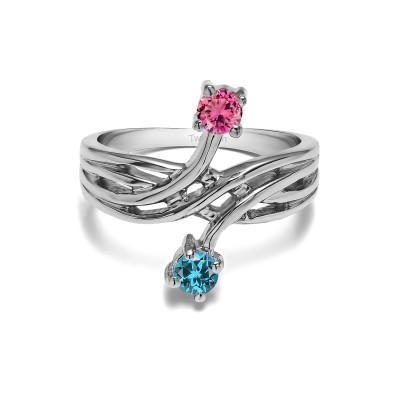 Genuine Birthstone Genuine Birthstone & Diamond Together 4Ever:  Bypass Criss Cross TwoStone Ring by TwoBirch (0.36 Carat)