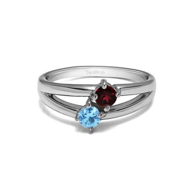Genuine Birthstone Genuine Birthstone & Diamond Together 4Ever:  Open TwoStone Ring by TwoBirch (0.36 Carat)