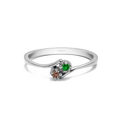 Genuine Birthstone Genuine Birthstone & Diamond Together 4Ever:  Dainty TwoStone Ring by TwoBirch (0.05 Carat)