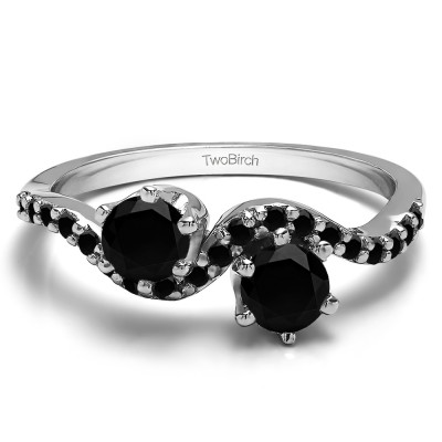 0.89 Carat Together 4Ever:  TwoStone Wave Ring by TwoBirch