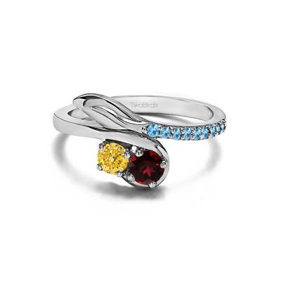 Genuine Birthstone Genuine Birthstone & Diamond Together 4Ever: Leaf TwoStone Ring by TwoBirch (0.5 Carat)