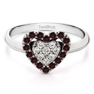 0.36 Carat Two Hearts One Love Ring With Synthetic Diamond and Ruby Mounted in Sterling Silver (Size 7.25)
