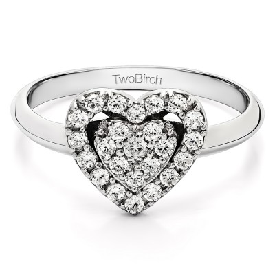 0.36 Carat Two Hearts One Love Ring With Cubic Zirconia Mounted in Sterling Silver (Size 7.25)