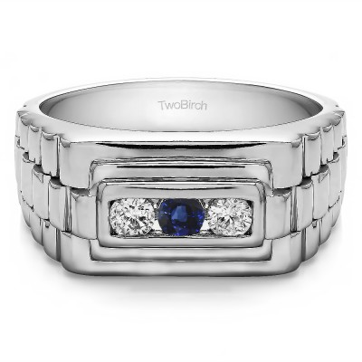 0.3 Ct. Sapphire and Diamond Three Stone Men's Wedding Ring with Ribbed Edges
