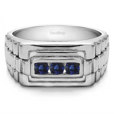 0.3 Ct. Sapphire Three Stone Men's Wedding Ring with Ribbed Edges