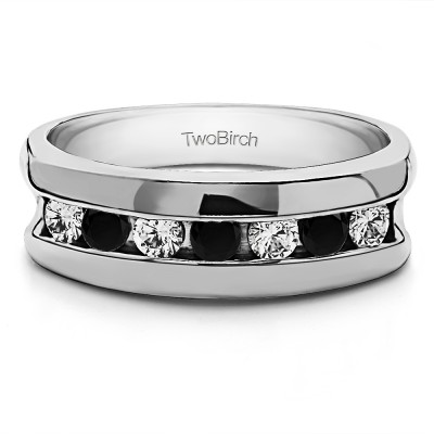 0.25 Ct. Black and White Seven Stone Channel Set Men's Wedding Band