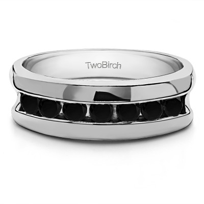 0.25 Ct. Black 7 Stone Channel Set Men's Wedding Band