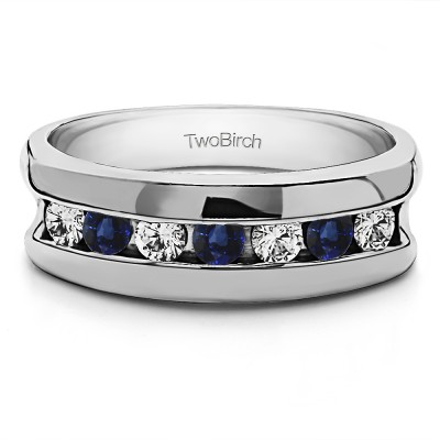 0.25 Ct. Sapphire and Diamond 7 Stone Channel Set Men's Wedding Band