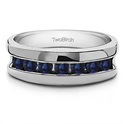 0.25 Ct. Sapphire 7 Stone Channel Set Men's Wedding Band