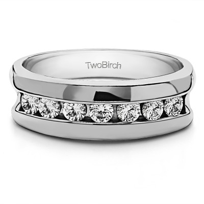 0.98 Ct. 7 Stone Channel Set Men's Wedding Band