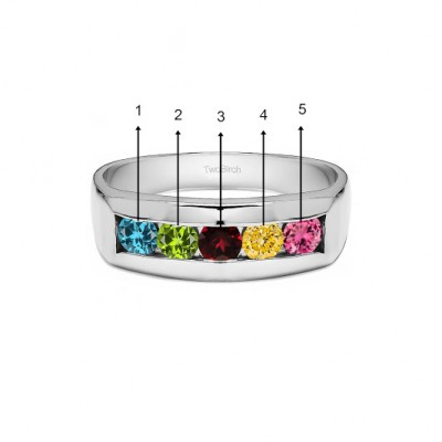 0.5 Ct. Five Stone Birthstone Channel Set Men's Wedding Ring in White Gold