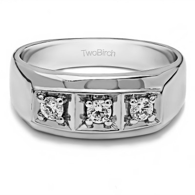 0.48 Ct. Three Stone Prong In Channel Set Men's Wedding Ring
