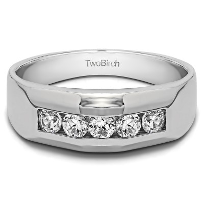 0.76 Ct. Five Stone Channel Set Men's Wedding Band With Cubic Zirconia Mounted in Sterling Silver (Size 10)