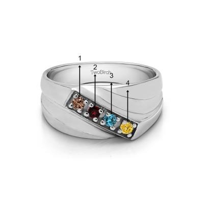 0.24 Ct. Sapphire Four Birthstone Prong Set Diagonal Men's Wedding Ring in White Gold