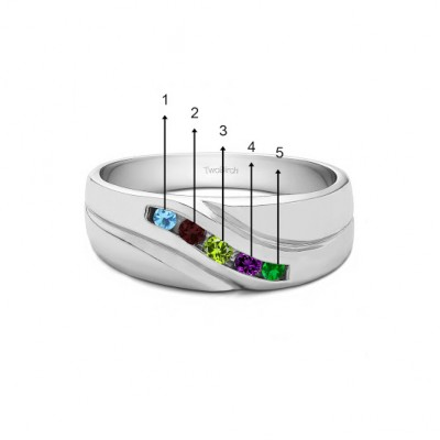 0.29 Ct. Five Birthstone Twisted Shank Men's Wedding Ring in White Gold