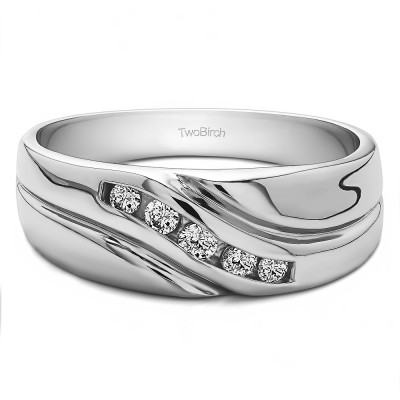 0.29 Ct. Five Stone Twisted Shank Men's Wedding Ring With Cubic Zirconia Mounted in Sterling Silver (Size 10)