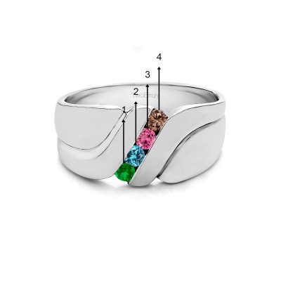 0.24 Ct. Four Birthstone Twisted Shank Men's Wedding Band in White Gold
