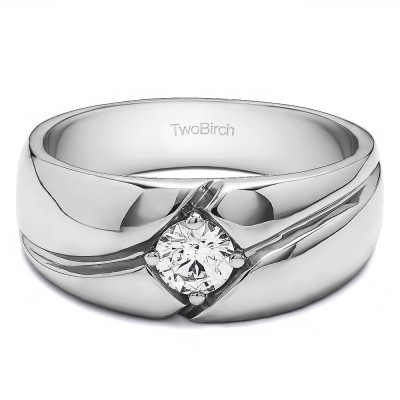 0.09 Ct. Prong in Bezel Solitaire Men's Wedding Band