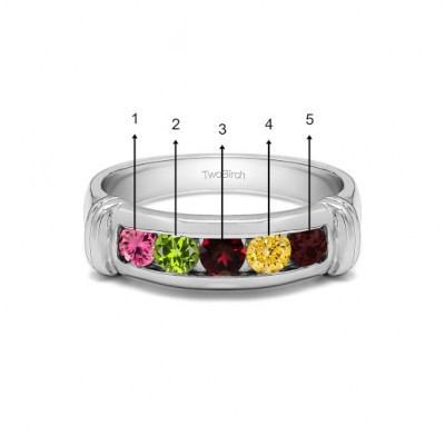 0.49 Ct. Five Birthstone Channel Set Men's Band With Raised Edges in White Gold