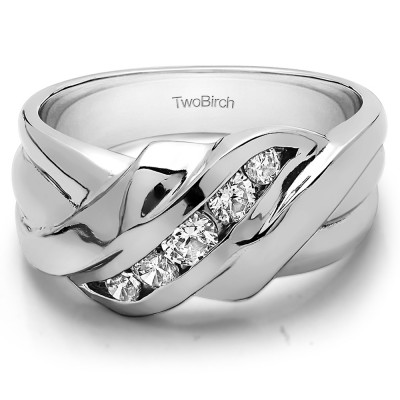TwoBirch Sterling Silver Twisted Ribbed Shank Men's Ring With Diamonds(G,I2)(0.25Ct. Size 13)