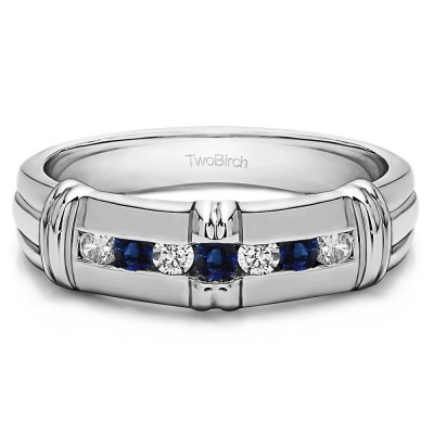 0.31 Ct. Sapphire and Diamond Seven Stone Channel Set Men's Wedding Ring with Raised Design