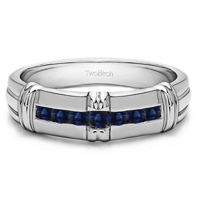 0.31 Ct. Sapphire Seven Stone Channel Set Men's Wedding Ring with Raised Design