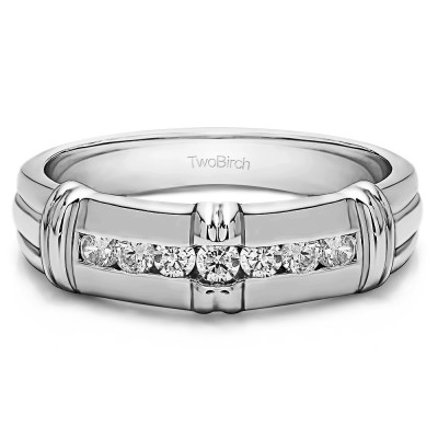 0.31 Ct. Seven Stone Channel Set Men's Wedding Ring with Raised Design