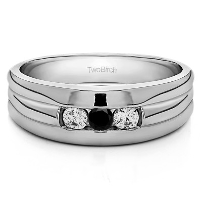 0.72 Ct. Black and White Three Stone Channel Set Men's Ring with Ribbed Shank