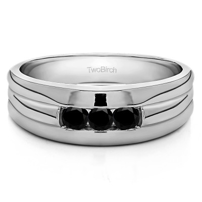0.51 Ct. Black Three Stone Channel Set Men's Ring with Ribbed Shank