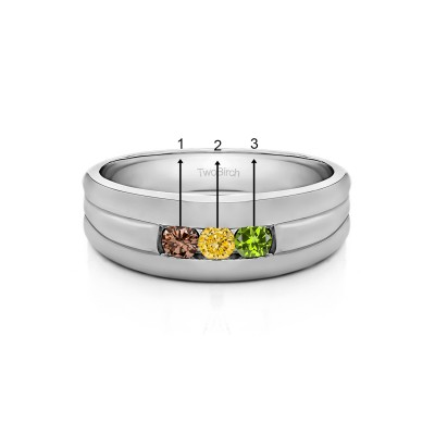 0.51 Ct. Three Birthstone Channel Set Men's Ring with Ribbed Shank in White Gold