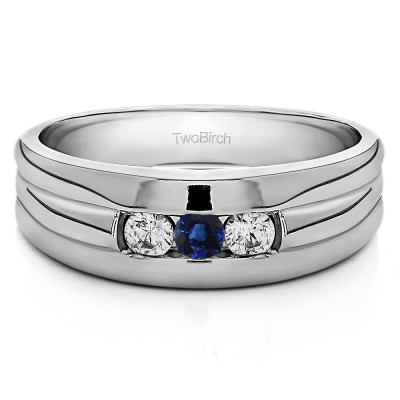 0.51 Ct. Sapphire and Diamond Three Stone Channel Set Men's Ring with Ribbed Shank