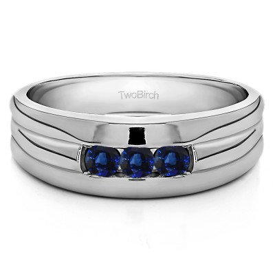 0.51 Ct. Sapphire Three Stone Channel Set Men's Ring with Ribbed Shank