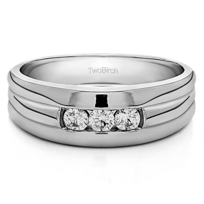 0.51 Ct. Three Stone Channel Set Men's Ring with Ribbed Shank