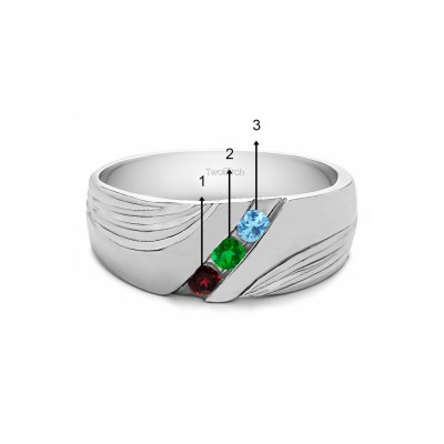 0.3 Ct. Three Birthstone Channel Set Ribbed Men's Wedding Band in White Gold