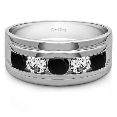 0.24 Ct. Black and White Five Stone Classic Channel Set Men's Wedding Ring