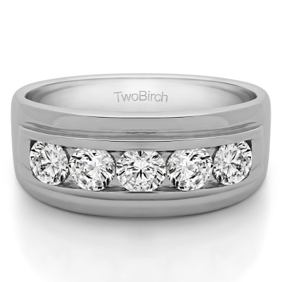 2 Ct. Classic Five Stone Channel Set Men's Wedding Ring